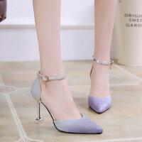 百搭韩版春季尖头性感婚鞋时尚浅口单鞋高跟鞋女细跟