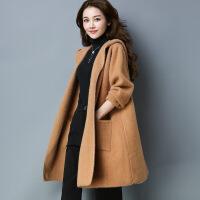 韩版中长款女式毛衣外套 宽松大码仿双面呢大衣外套 工厂直销