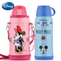 新款迪士尼保温杯 儿童双盖水壶学生水杯防漏保温瓶 不锈钢带吸管杯