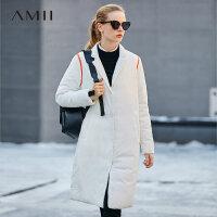 【到手价361元】Amii极简休闲帅气90白鸭绒羽绒服女2018冬新款宽松修身中长款外套