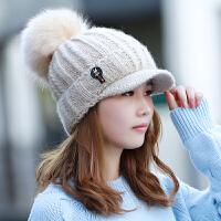帽子女冬天韩版潮加绒加厚毛线帽秋冬保暖针织帽冬季可爱鸭舌帽女
