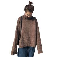 秋冬韩版宽松复古纯色加厚保暖高领网红套头毛衣针织衫上衣外套女 均码