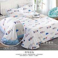纯棉床单单件单人双人全棉斜纹1.5米1.8m床卡通碎花春秋床单加大 白色 年年有鱼 2.0m床 床单+枕套一对