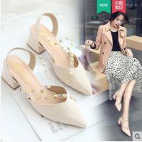 包头中跟女士凉鞋仙女风抖音同款时尚百搭粗跟铆钉透明配裙子的鞋