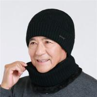 冬天中老年男加绒毛线帽保暖父亲爷爷针织帽老人老头帽子围脖套帽