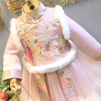汉服女童连衣裙冬儿童中国风公主唐装新年套装旗袍