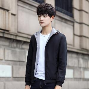两面穿外套男连帽韩版修身男士夹克2017新款秋季卫衣男双面穿薄款