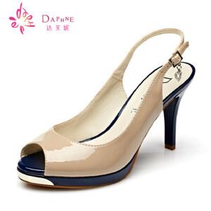 Daphne/达芙妮 夏女鞋 时尚漆皮撞色罗马风鱼嘴凉鞋1015303011