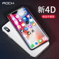 支持礼品卡 ROCK iphoneX 4D 曲面 iphone x 全屏覆盖 软边 钢化膜 高清 抗蓝光 玻璃膜 防指