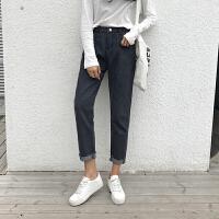 2018春季女装新款韩版宽松休闲牛仔裤毛边百搭高腰哈伦裤学生裤子
