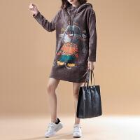 秋冬女装韩版原宿风半高领bf宽松加绒加厚金丝绒卫衣外套套头上衣