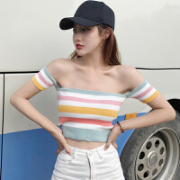 夏季新款女装性感裹胸式露背短袖T恤彩色条纹露肩短款针织打底衫
