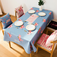 卡通粉红豹棉麻餐桌布茶几桌布长方形布艺小清新加厚圆桌台布
