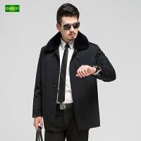 逸纯印品(EASZin)男士尼克服 中年 中长款 翻领 爸爸装 加厚 棉袄 保暖外套
