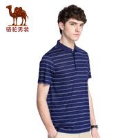 骆驼男装 夏季新款条纹青年短袖t恤翻领薄款休闲POLO衫