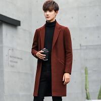 毛呢大衣男韩版修身帅气呢子风衣男中长款呢子男装潮秋冬季外套男 酒红 M