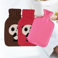 热水袋注水暖宫暖水袋爆灌水小号暖手宝毛绒热宝迷你可拆洗毛绒线套橡胶热水袋 颜色随机