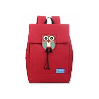 书包中学生双肩包女版背包小清新大容量旅行包fki 版枣红色
