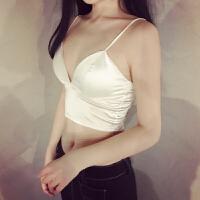 夏装绸缎性感V领抹胸文胸薄款无钢圈内衣排扣修身小吊带背心女 均码