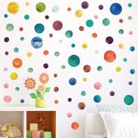 墙贴彩色圆圈几何图案儿童房间简约童话北欧贴纸自粘墙纸墙面装饰