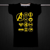 复仇者联盟2 钢铁 蝙蝠侠美国队长兄弟装短袖纯棉t恤 黑色