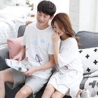 2套 情侣睡衣纯棉套装韩版夏天男女士家居服睡裙可外穿