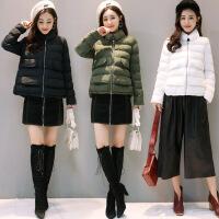 新款冬装韩版时尚修身立领A字短款棉衣女冬 HBJR6111白色