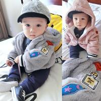 20180506170855020女婴儿棉衣服男宝宝0新生儿3个月1秋冬季冬装6秋装加绒加厚外套装