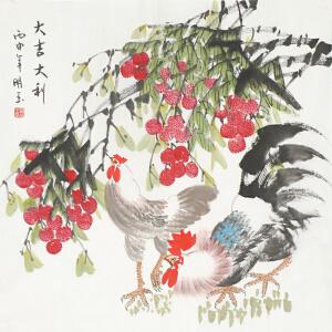 职业画家 杨明玉《大吉大利》68cmx68cm