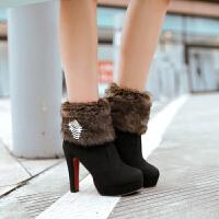 彼艾2016冬季毛毛雪地靴超高跟女短靴防水台细跟中筒靴性感夜店女靴子