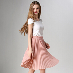 RANJU 然聚2018女装夏季新品新款欧美气质百搭雪纺百褶半身裙中长裙