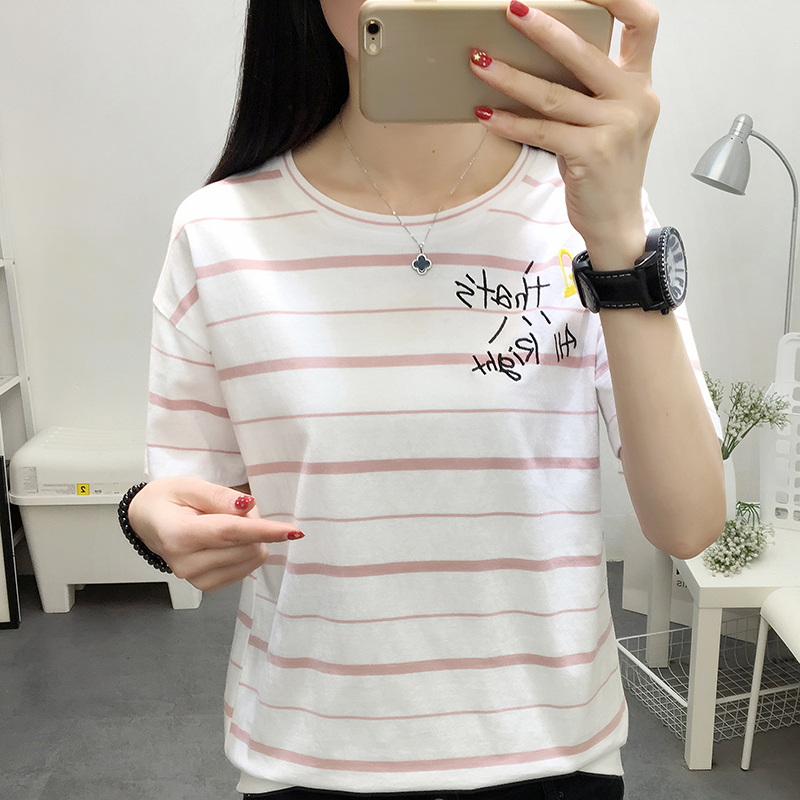 RANJU 然聚2018女装夏季新品新款短袖字母刺绣t恤女韩版显瘦圆领学生半袖体恤上衣
