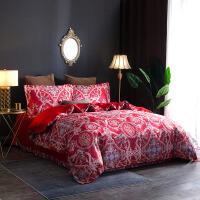 贝赛亚四件套 纯棉提花转印花双人加大床品四件套 蔓格林-红