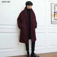 新款秋冬男士酒红色呢子大衣韩版羊绒大衣男中长款宽松双排扣外套