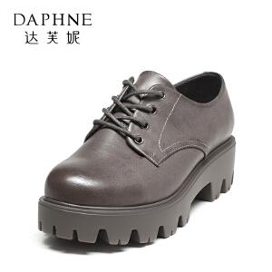 达芙妮集团鞋柜潮英伦风复古系带粗跟女鞋纯色增高单鞋-1