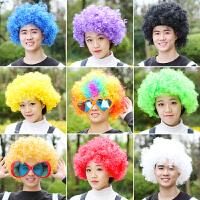 万圣节搞笑道具儿童彩色爆炸头小丑头套假发小品演出搞怪彩虹跑