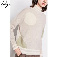 Lily2019冬新款女装100%纯羊毛复古气质圆点半高领宽松毛衣8E22