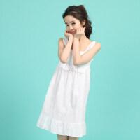 韩版情侣睡衣套装纯棉吊带胸垫睡裙男女可爱家居服