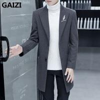 冬季男士羊毛呢大衣韩版中长款修身潮流风衣青年帅气呢子大衣外套 灰色 M