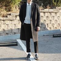 冬季潮流毛呢大衣男中长款韩版米色男士双面羊绒大衣呢子外套青年
