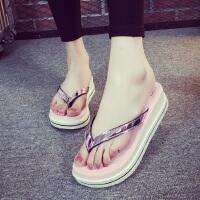 韩版夏时尚新款外穿人字拖鞋松糕女厚底防滑休闲耐磨沙滩百搭坡跟 35 偏小一码
