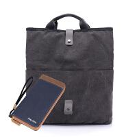 男士包袋新款休闲帆布包斜挎大包韩版时尚单肩包男多功能手提包包