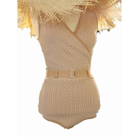 ins性感显瘦夏比基尼针织V领格子腰带连体泳衣女三角气质遮肚泳装 均码