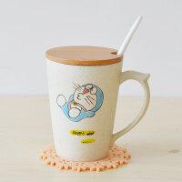 可爱杯子陶瓷水杯多啦A梦创意马克杯定制带盖勺牛奶杯茶杯早餐杯