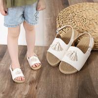 儿童凉鞋中大童防滑软底沙滩鞋时尚流苏百搭女童凉鞋