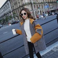 实拍 秋冬新款韩版格子拼接连帽加厚毛呢大衣女宽松呢子外套 图片色