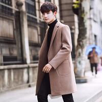 男士风衣秋冬新品韩版修身型中长款帅气毛呢大衣潮牌男装外套 卡其色 M