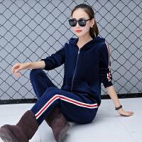 2017新款冬季金丝绒加绒加厚卫衣休闲运动服套装两件套女装Xp1w