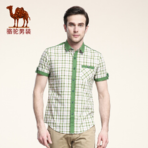 骆驼男装 夏季短袖衬衫 青年男士韩版 纯棉衬衫 薄款绿色格子寸衫