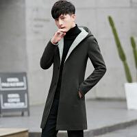 风衣外套男新款韩版帅气修身连帽毛呢大衣青年潮冬季中长款男